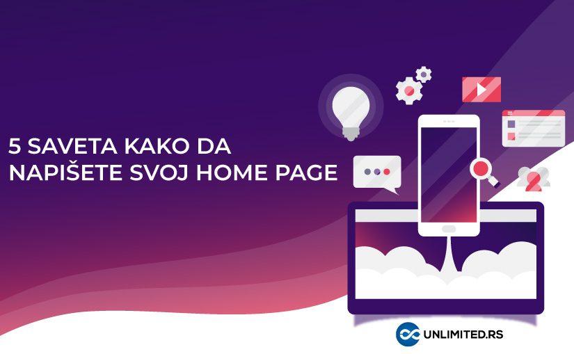 5 saveta kako da napišete svoj home page